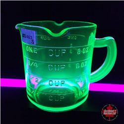 "Depression Glass (Green Vaseline Glass) Measuring Cup ""Kellogg's"""