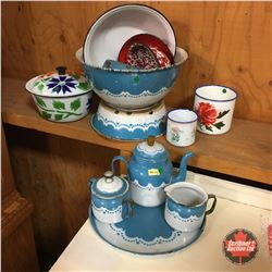 McClary's Blue & White Enamelware w/Asstd Red & White & Floral Enamelware (13pcs)