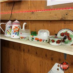 Fire King Refrigerator Dishes (Floral) & Assorted Floral Enamelware (10pcs)
