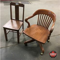 Rolling Office Chair & Wooden Kitchen Chair