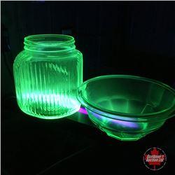 Depression Glass Coffee Jar & Mixing bowl (Both Vaseline Glass)