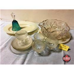 "Depression Clear Glass ""Homespun Fine Rib"" Sherbet Dishes & Saucers & 9"" Pentagon Flint Glass Saw To"