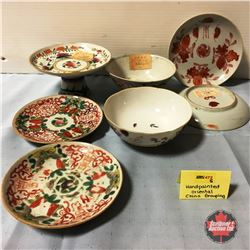 Very Very Old Hand Painted Asian China (7 pcs) (Red Seal on Bases)