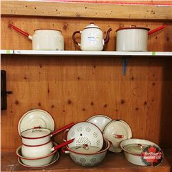 Red & Cream Enamelware Collection (Approx. 16pcs)
