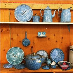 Sky Blue Marbled Enamelware Collections (Approx. 18pcs) & 2 Moustache Buttons