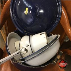 White & Navy Blue Enamelware & Blue Speckled Kettle Pot (9 pcs)