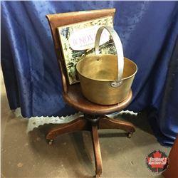 "Wooden Office Chair (Round Seat) w/Brass Kettle Pot & ""Boston Pops"" Album Set"