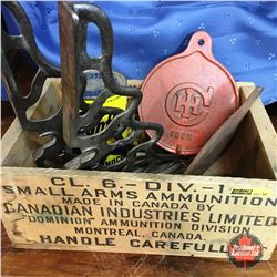 Whiz Bang Bullets Wood Crate w/Cast Iron Shelving Brackets, IHC Cast Iron Covers & Sunoco Oil Quart