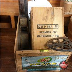 Wooden Box Lot: Sad Iron Trivet, Wood Planer, Enamelware Bed Pan & Stamped Wood Box