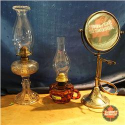 "Clear Coal Oil Pedestal Lamp, Finger ""Peanut"" Lamp & Mirror"