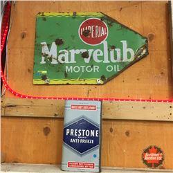 Marvelube Double Sided Sign (Has Been Modified to Arrow Shape) + Prestone Antifreeze Tin