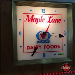 """Maple Lane Dairy Foods"" Light Up Clock"