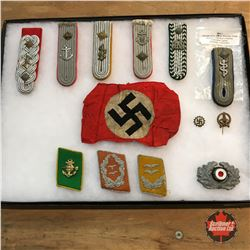 WW2 German Items : Arm Band, Shoulder Boards, Collar Tabs, Pins & Badge