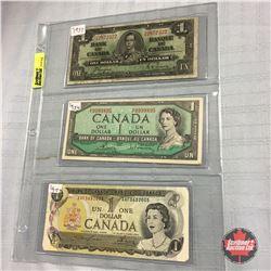 Canada $1 Bill (3) : 1937; 1954; 1973