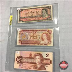 Canada $2 Bill (3) : 1954; 1974; 1986