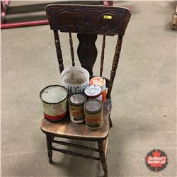 Pressed Back Chair & Vintage Oil Tins - Variety