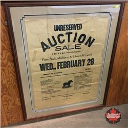 Professionally Framed Vintage Auction Sale Bill