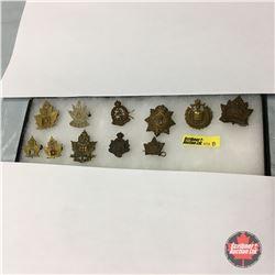 WW1 Canadian Cap Badges (11 Items) (incl: 4th Railway Troops & 65 BN Saskatchewan)