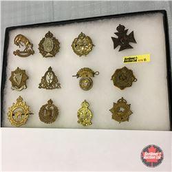 WW2 Canadian Cap Badges (12 Items) (incl: 3 Rivers Regiment & Brockville Rifles)