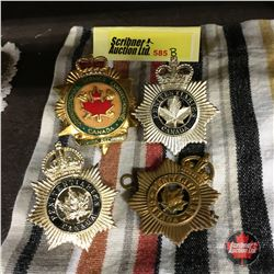 Correctional Service Canada Hat Badge (1) & Penitentiaries Canada Hat Badges (3)