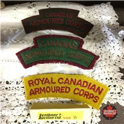 "Canadian Battle Dress Shoulder Flash ( 2 Cloth 1 Canvas)  ""Canadian Armoured Corps"""