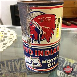 Red Indian Aviation Motor Oil Quart Tin