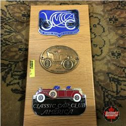 Automobile Club Badges (on Plaque Board) (3): Veteran Motor Club; Franklin; Classic Car