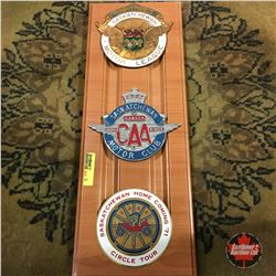 Automobile Club Badges (on Plaque Board) (3): Sask Motor League; Motorclub; Circle Tour