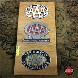 Automobile Club Badges (on Plaque Board) (3): Triple AAA (Michigan; National Award; North Jersey)