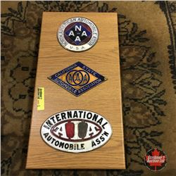 Automobile Club Badges (on Plaque Board) (3): North American; California; International