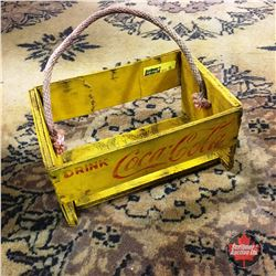 Drink Coca-Cola Yellow Wood Box Bottle Carrier 25¢ (1940's)