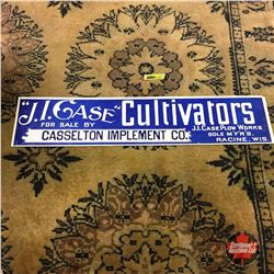 "25"" x 5"" Wax Cardboard Dealer Advertising Sign (Rare!) ""J.I. Case"" Cultivators (for Casselton Implem"