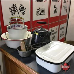 Variety Enamelware & Rogers Syrup Tin, etc