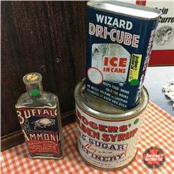 Trio: Buffalo Ammonia Bottle, Rogers Syrup Tin, Wizard Dri-Cube Tin