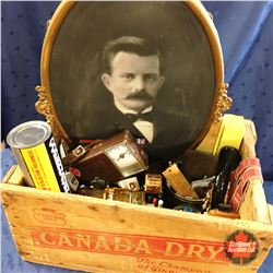 Canada Dry Wood Crate w/Gentleman's Grouping (Oval Framed Picture, Pen Collection, Radio, Suspenders