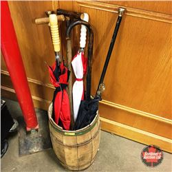 Nail Keg w/Canes, Walking Sticks & Umbrellas