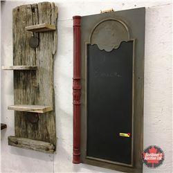 Barn Board Shelf & Chalk Board