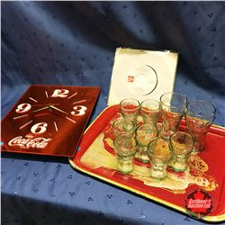 """Enjoy Coca-Cola Clock & Tray w/45 Record """"I'd Like to Teach the World to Sing"""" & Coca-Cola Glasses"""