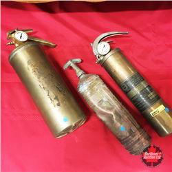 3 Brass Fire Extinguishers