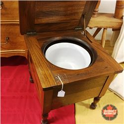 Antique Oak Commode Chair/Table