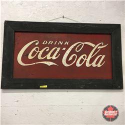 "Wood Framed ""Drink Coca-Cola"" Metal Embossed Sign 31"" x 17-1/2"""