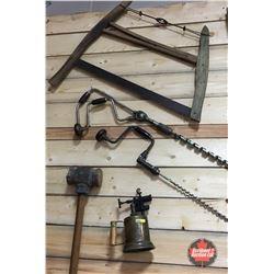 Swede Saw, 2 Brazen Bits, Sledge Hammer, Blow Torch