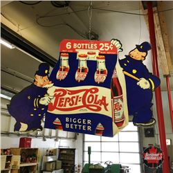 Vintage Pepsi Cola Double Dot  Pepsi Pete  Store Advertising 14-1/2  x 21-1/4  Fan Pull c. 1940