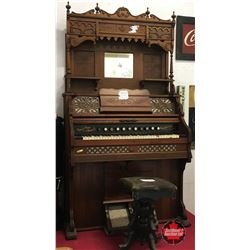 "Pump Organ w/Stool ""Thomas Organ & Piano Co."" Woodstock, ONT, Canada (c.1897)"