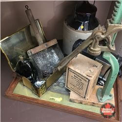 Tray Lot: Bottle Capper, Radio, Pickle Crock, etc
