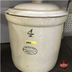 4 Gal Medalta Crock w/Lid (Cracked)