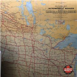 """Automobile Roads Between Canada & United States"" Map (c.1928)"