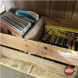 Wood Box Lot: 8 Tracks, Albums & Magazines