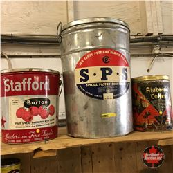 Tin Trio: Stafford Fruit Spread Raspberry with Pectin, S.P.S., Arabrand Coffee