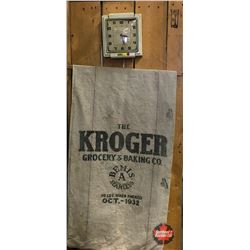 "Electric Kitchen Clock & Grocery Sack ""The Kroger Grocery & Baking Co. 98lbs When Packed Oct. 1932"""